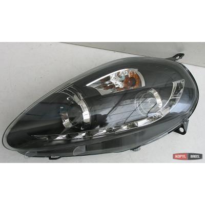 Альтернативная оптика передняя на Fiat Grande Punto 2005- тюнинг фары черная JunYan