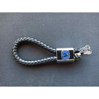Автомобільний брелок на ключи авто Acura плетений ремінць косичка екошкіра