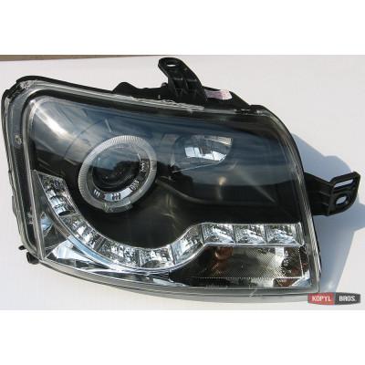 Альтернативная оптика передняя на Fiat Panda 2003-2012 тюнинг фары черная JunYan