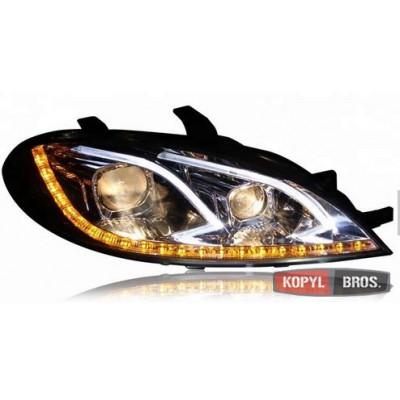 Альтернативная оптика передняя на Chevrolet Lacetti 2004- HB тюнинг фары хром Led headlights Benz style W212 JunYan