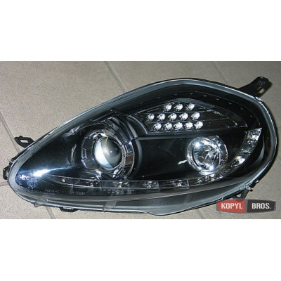 Альтернативная оптика передняя на Fiat Grande Punto 2009- тюнинг фары черная LED JunYan